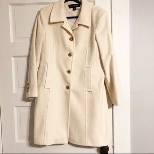 Anne Klein Wool & Cashmere Cream Coat - 14P